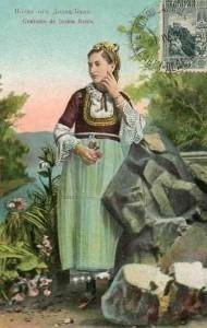 Картичка на момиче в народна носия. Долна баня 1910г.
