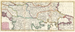 Карта на Балканският полуостров от 1738 година.
