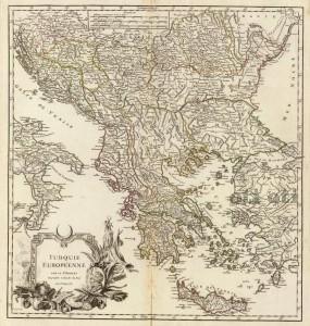 Карта на балканският полуостров от 1755 г.