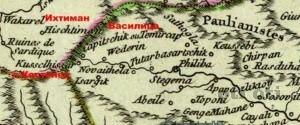 На картата са отбелязани с.Костенец , Васелица и Ихтиман