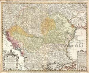 1752 Homann Heirs Map of Hungary, the Balkans