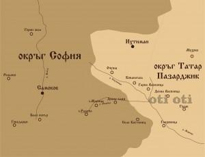 Карта на административното деление на Костенецко-Долнобанската котловина от 1893 година.