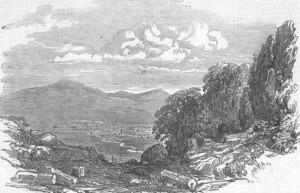 Гравюра изглед към Ихтиман от 1852 година
