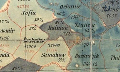 Карта представена на Константинополската конференция 1876 год.
